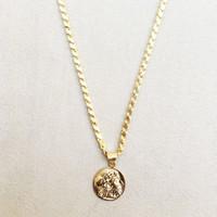 Vella Jewels Kalın Arpa Pulu Kalın Zincir Ucu Antik Para Kolye 60 Cm
