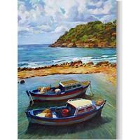 Desenlio Deniz Manzaralı Yağlı Boya Görünümlü Kanvas Tablo