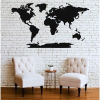 Dekadron Dünya Haritası Metal Tablo