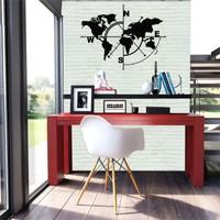 Dekadron Geometrik Dünya Haritası Kompass Metal Tablo