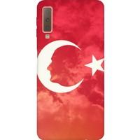 Cekuonline Samsung Galaxy A7 2018 A750F Desenli Esnek Silikon Telefon Kapak Kılıf - Ay Yıldız Mustafa Kemal Atatürk