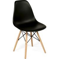 Hepsi Home Eames Sandalye Ahşap Ayaklı - Siyah