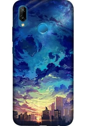 Cekuonline Huawei P20 Lite Desenli Esnek Silikon Telefon Kapak Kılıf - Cloud City