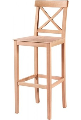 Evim Hizmet 7205 Çapraz Izgaralı Bar Sandalye Cilasız Ahşap