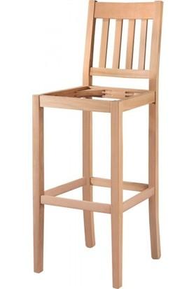 Evim Hizmet 7208 Çıtalı Döşemeli Bar Sandalye Cilasız Ahşap