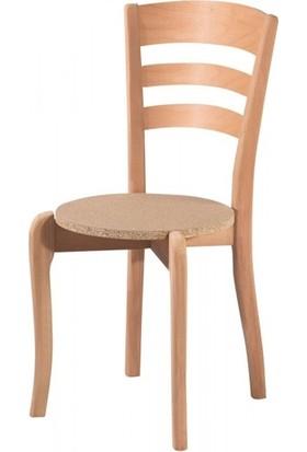 Evim Hizmet 7131 Üç Tepeli Sandalye Cilasız Ahşap