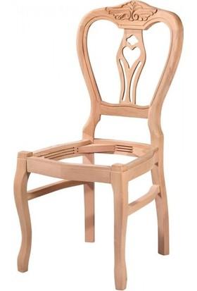 Evim Hizmet 7126 Klasik Kontralı Oymalı Sandalye Cilasız Ahşap