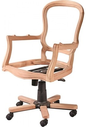 Evim Hizmet 7160 Klasik Dönerli Sandalye Cilasız Ahşap