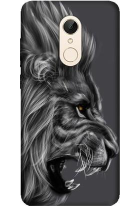 Cekuonline Xiaomi Redmi 5 Plus Desenli Esnek Silikon Telefon Kapak Kılıf - Kara Aslan