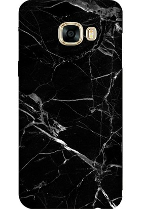 Cekuonline Samsung Galaxy C7 Pro Desenli Esnek Silikon Telefon Kapak Kılıf - Mermer Siyah