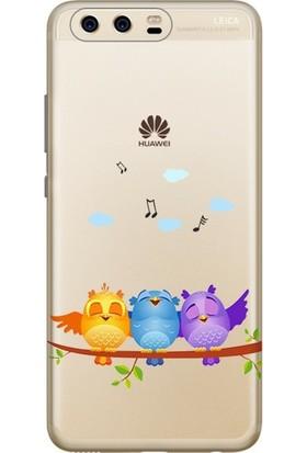 Cekuonline Huawei P10 Plus Desenli Esnek Silikon Telefon Kapak Kılıf - Kuşlar
