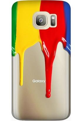 Cekuonline Samsung Galaxy S7 Edge Desenli Esnek Silikon Telefon Kapak Kılıf - Akan Boya
