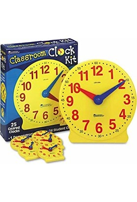 Learning Resources Classroom Clock Kit 1 Demonstration Clock- 24 Student Clocks
