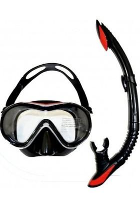 Bermuda Turbo Tempered Silikon Maske Şnorkel Set