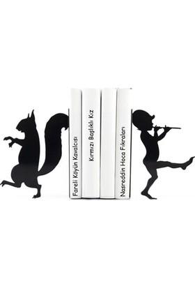 Simge Yapı Dekorasyon Sincap ve Kavalcı Çocuk Temalı Dekoratif Metal Kitap Tutucu Kitap Desteği