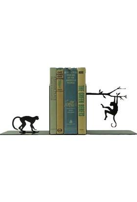 Simge Yapı Dekorasyon Daldaki Maymun ve Maymun Figürlü Dekoratif Metal kitap Tutucu Kitap Desteği