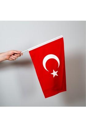 Özgüvenal Türk Bayrağı 30 x 45 Cm Raşel Kumaş - Sopalı