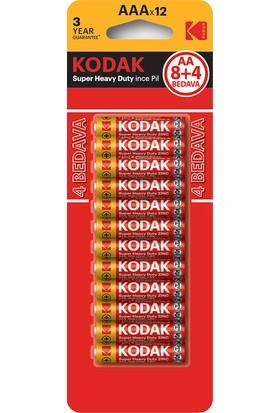 Kodak Blisterli Çinko Karbon ince Pil ( 8+4 Hediye ) - 12'li Paket