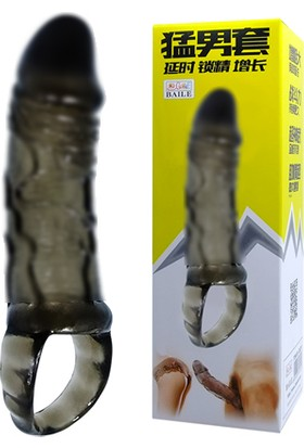 Baile 2 cm Dolgulu Süper Kalite Silikon Penis Kılıfı Zenci Penis Dildo