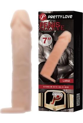 Baile 6 cm Dolgulu Uzatmalı Penis Kılıfı Realistik Penis Ten Rengi Dildo