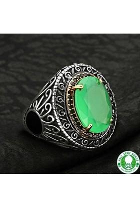 Nali Şerif Gümüş Su Yeşili Kristal Taşlı 925 Ayar Gümüş Bayan Yüzüğü