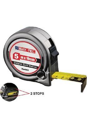 Bay-Tec 5M X 19Mm Durdurma Mekanizmalı Çelik Şerit Metre No: 63