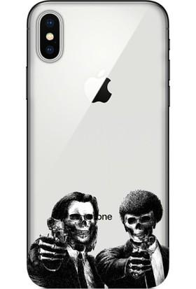 Cekuonline iPhone XS Max Desenli Esnek Silikon Telefon Kapak Kılıf - Skull Ajan