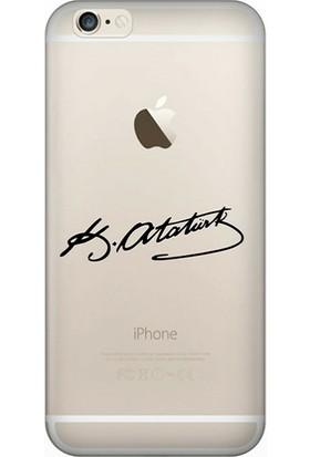 Cekuonline iPhone 6S Desenli Esnek Silikon Telefon Kapak Kılıf - Atatürk İmza