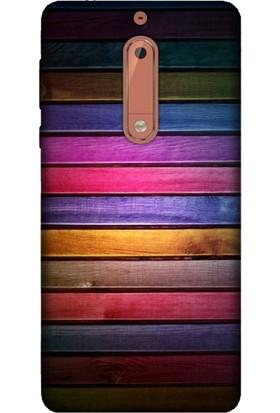 Cekuonline Nokia 5 Desenli Esnek Silikon Telefon Kapak Kılıf - Woods