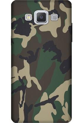 Cekuonline Samsung Galaxy A3 (2015) Desenli Esnek Silikon Telefon Kapak Kılıf - Asker Deseni