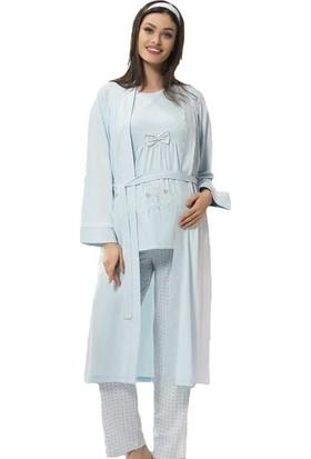 Poleren 5672 Hamile - Lohusa Üçlü Pijama Takımı