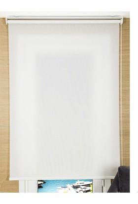 Zebraevim Ekru Polyester Stor Perde Etek Dilimli