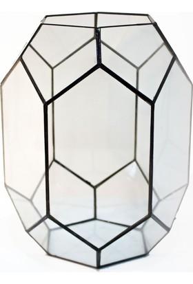 Garga Interior Design Terrarga Dekoratif Vitray Cam Terraryum Fanus 25 x 25 x 30 Cm