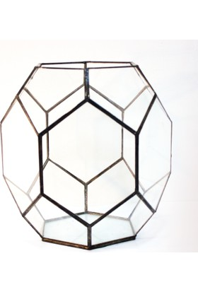 Garga Interior Design Terrarga Dekoratif Vitray Cam Terraryum Fanus 25 x 25 x 25 cm