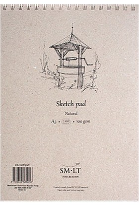 Sm.Lt Sketch Pads Authentic Natural A4 100Yp 100Gr