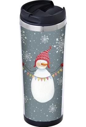 Allmug İçi Çelik Termos Snowman Mug