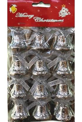 Happy Land Yılbaşı Yeniyıl Noel Çam Ağacı 12 Li Çan Gümüş Gri Renk