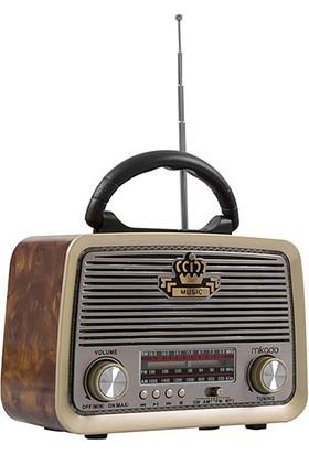 Mikado Mdr - 6Bt Serenad K Usb - Tf Destekli Bluetooth Fm - Am*Sw 3 Band Klasik Nostalji Radyo Ahşap - Kahve