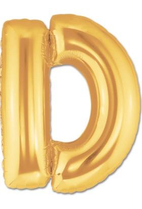 Balonpark Harf Folyo Balon D Harfi Büyük Boy Balon Altın Sarısı /Dore 100CM