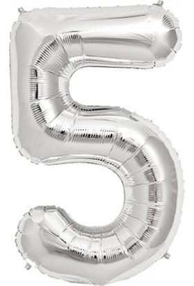 Balonpark Rakam Folyo Balon 5 Rakamı Büyük Boy Balon Gümüş/Gri 100CM