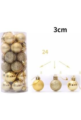 Partici Yılbaşı Ağacı Süsleme Topları Gold 3cm 24'lü
