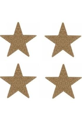 Partici Yıldız Strafor Dekor Süs Çift Taraflı Altın 4'lü
