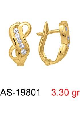 Kuyumcudükkanı AS-19801 8 Ayar Altın Bayan Taşlı Küpe