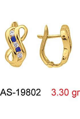 Kuyumcudükkanı AS-19802 8 Ayar Altın Bayan Taşlı Küpe