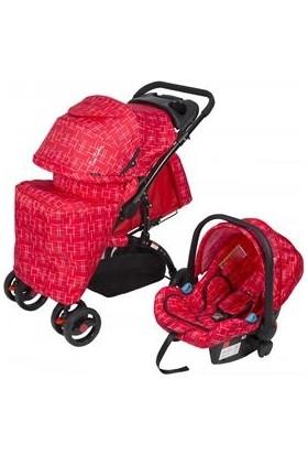 Pierre Cardin Pc409 Aloin Travel Sistem Bebek Arabası - Kırçıllı Kırmızı