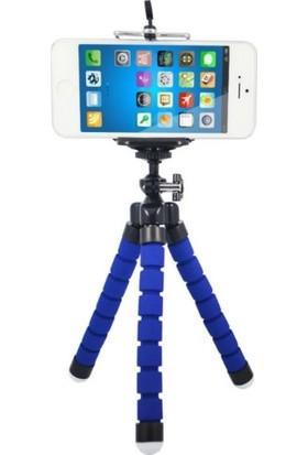 Azr Ahtapot Tripod Mavi Selfie Mini Esnek Masa Üstü Stand