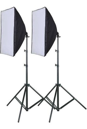 Deyatech Softbox 50X70Cm Tek Duyulu 2 Li Kit Sürekli Işık Youtber Kit Blogger Kit Vlogger Kit