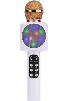 Wster Ws-1816 Karaoke Mikrofon Bluetooth Hoparlör Işıklı Wireless Microphone Hifi Speaker Beyaz