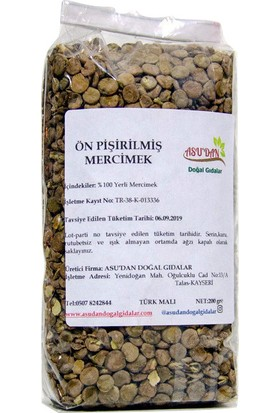 Asudan Doğal Gıdalar Ön Pişirilmiş Mercimek 200 gr