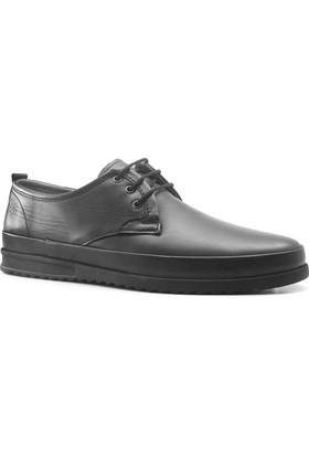 İzderi Shoes Hakiki Deri Siyah Ortopedik Günlük Erkek Ayakkabı